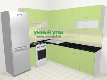 Угловая кухня МДФ металлик в современном стиле 6,9 м², 210 на 240 см, Салатовый металлик, верхние модули 72 см, посудомоечная машина, холодильник, отдельно стоящая плита