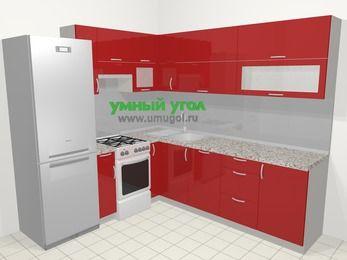 Угловая кухня МДФ глянец в современном стиле 6,9 м², 210 на 240 см, Красный, верхние модули 72 см, посудомоечная машина, холодильник, отдельно стоящая плита