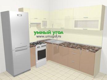 Угловая кухня МДФ глянец в современном стиле 6,9 м², 210 на 240 см, Жасмин / Капучино, верхние модули 72 см, посудомоечная машина, холодильник, отдельно стоящая плита