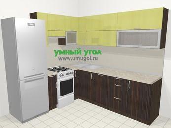 Кухни пластиковые угловые в современном стиле 6,9 м², 210 на 240 см, Желтый Галлион глянец / Дерево Мокка, верхние модули 72 см, посудомоечная машина, холодильник, отдельно стоящая плита