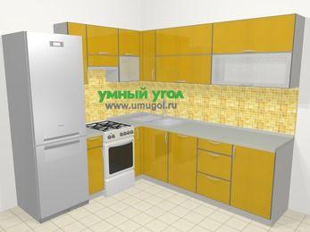 Кухни пластиковые угловые в современном стиле 6,9 м², 210 на 240 см, Желтый глянец, верхние модули 72 см, посудомоечная машина, холодильник, отдельно стоящая плита