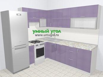 Кухни пластиковые угловые в современном стиле 6,9 м², 210 на 240 см, Сиреневый глянец, верхние модули 72 см, посудомоечная машина, холодильник, отдельно стоящая плита