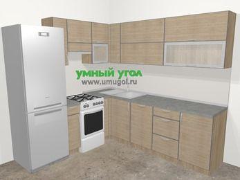 Кухни пластиковые угловые в стиле лофт 6,9 м², 210 на 240 см, Чибли бежевый, верхние модули 72 см, посудомоечная машина, холодильник, отдельно стоящая плита