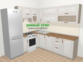 Угловая кухня МДФ патина в классическом стиле 6,9 м², 210 на 240 см, Лиственница белая, верхние модули 72 см, посудомоечная машина, холодильник, отдельно стоящая плита