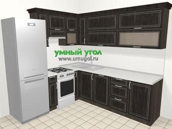 Угловая кухня МДФ патина в классическом стиле 6,9 м², 210 на 240 см, Венге, верхние модули 72 см, посудомоечная машина, холодильник, отдельно стоящая плита