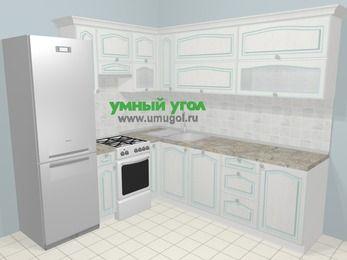 Угловая кухня МДФ патина в стиле прованс 6,9 м², 210 на 240 см, Лиственница белая, верхние модули 72 см, посудомоечная машина, холодильник, отдельно стоящая плита
