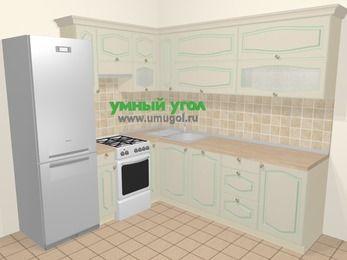 Угловая кухня МДФ патина в стиле прованс 6,9 м², 210 на 240 см, Керамик, верхние модули 72 см, посудомоечная машина, холодильник, отдельно стоящая плита