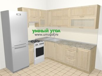 Угловая кухня из массива дерева в классическом стиле 6,9 м², 210 на 240 см, Светло-коричневые оттенки, верхние модули 72 см, посудомоечная машина, холодильник, отдельно стоящая плита