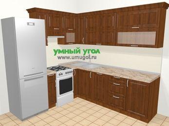 Угловая кухня из массива дерева в классическом стиле 6,9 м², 210 на 240 см, Темно-коричневые оттенки, верхние модули 72 см, посудомоечная машина, холодильник, отдельно стоящая плита