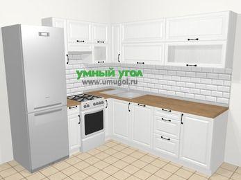 Угловая кухня из массива дерева в скандинавском стиле 6,9 м², 210 на 240 см, Белые оттенки, верхние модули 72 см, посудомоечная машина, холодильник, отдельно стоящая плита