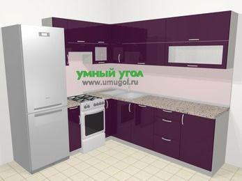 Угловая кухня МДФ глянец в современном стиле 6,9 м², 210 на 240 см, Баклажан, верхние модули 72 см, посудомоечная машина, холодильник, отдельно стоящая плита