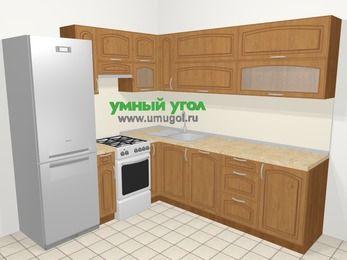 Угловая кухня МДФ патина в классическом стиле 6,9 м², 210 на 240 см, Ольха, верхние модули 72 см, посудомоечная машина, холодильник, отдельно стоящая плита