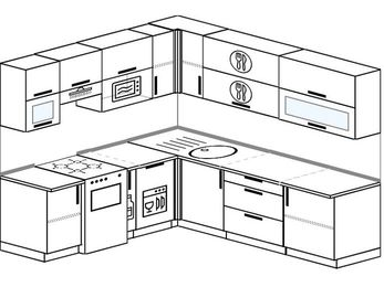 Угловая кухня 6,9 м² (2,1✕2,4 м), верхние модули 72 см, посудомоечная машина, верхний модуль под свч, отдельно стоящая плита