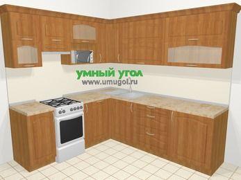 Угловая кухня МДФ матовый в классическом стиле 6,9 м², 210 на 240 см, Вишня, верхние модули 72 см, посудомоечная машина, верхний модуль под свч, отдельно стоящая плита