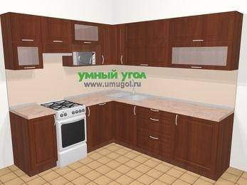 Угловая кухня МДФ матовый в классическом стиле 6,9 м², 210 на 240 см, Вишня темная, верхние модули 72 см, посудомоечная машина, верхний модуль под свч, отдельно стоящая плита