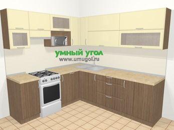 Угловая кухня МДФ матовый в современном стиле 6,9 м², 210 на 240 см, Ваниль / Лиственница бронзовая, верхние модули 72 см, посудомоечная машина, верхний модуль под свч, отдельно стоящая плита