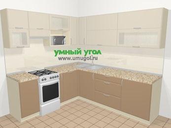 Угловая кухня МДФ матовый в современном стиле 6,9 м², 210 на 240 см, Керамик / Кофе, верхние модули 72 см, посудомоечная машина, верхний модуль под свч, отдельно стоящая плита