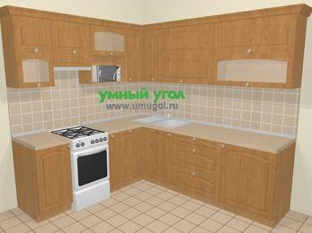 Угловая кухня МДФ матовый в стиле кантри 6,9 м², 210 на 240 см, Ольха, верхние модули 72 см, посудомоечная машина, верхний модуль под свч, отдельно стоящая плита