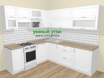 Угловая кухня МДФ матовый  в скандинавском стиле 6,9 м², 210 на 240 см, Белый, верхние модули 72 см, посудомоечная машина, верхний модуль под свч, отдельно стоящая плита