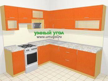Угловая кухня МДФ металлик в современном стиле 6,9 м², 210 на 240 см, Оранжевый металлик, верхние модули 72 см, посудомоечная машина, верхний модуль под свч, отдельно стоящая плита