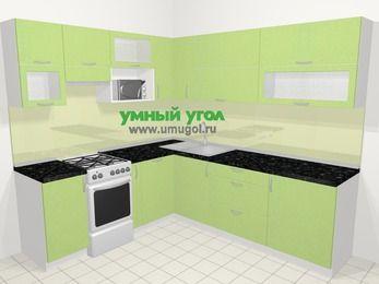 Угловая кухня МДФ металлик в современном стиле 6,9 м², 210 на 240 см, Салатовый металлик, верхние модули 72 см, посудомоечная машина, верхний модуль под свч, отдельно стоящая плита