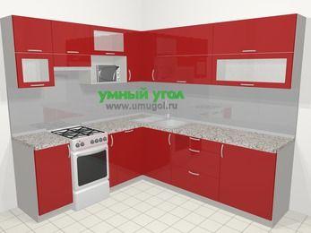 Угловая кухня МДФ глянец в современном стиле 6,9 м², 210 на 240 см, Красный, верхние модули 72 см, посудомоечная машина, верхний модуль под свч, отдельно стоящая плита