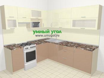 Угловая кухня МДФ глянец в современном стиле 6,9 м², 210 на 240 см, Жасмин / Капучино, верхние модули 72 см, посудомоечная машина, верхний модуль под свч, отдельно стоящая плита