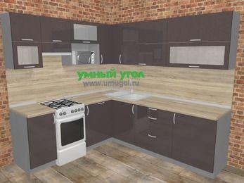 Угловая кухня МДФ глянец в стиле лофт 6,9 м², 210 на 240 см, Шоколад, верхние модули 72 см, посудомоечная машина, верхний модуль под свч, отдельно стоящая плита