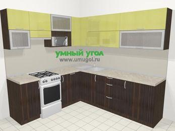Кухни пластиковые угловые в современном стиле 6,9 м², 210 на 240 см, Желтый Галлион глянец / Дерево Мокка, верхние модули 72 см, посудомоечная машина, верхний модуль под свч, отдельно стоящая плита