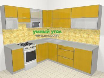 Кухни пластиковые угловые в современном стиле 6,9 м², 210 на 240 см, Желтый глянец, верхние модули 72 см, посудомоечная машина, верхний модуль под свч, отдельно стоящая плита