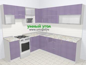 Кухни пластиковые угловые в современном стиле 6,9 м², 210 на 240 см, Сиреневый глянец, верхние модули 72 см, посудомоечная машина, верхний модуль под свч, отдельно стоящая плита