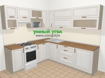 Угловая кухня МДФ патина в классическом стиле 6,9 м², 210 на 240 см, Лиственница белая, верхние модули 72 см, посудомоечная машина, верхний модуль под свч, отдельно стоящая плита
