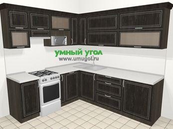 Угловая кухня МДФ патина в классическом стиле 6,9 м², 210 на 240 см, Венге, верхние модули 72 см, посудомоечная машина, верхний модуль под свч, отдельно стоящая плита