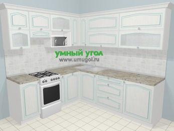 Угловая кухня МДФ патина в стиле прованс 6,9 м², 210 на 240 см, Лиственница белая, верхние модули 72 см, посудомоечная машина, верхний модуль под свч, отдельно стоящая плита