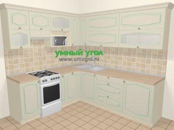 Угловая кухня МДФ патина в стиле прованс 6,9 м², 210 на 240 см, Керамик, верхние модули 72 см, посудомоечная машина, верхний модуль под свч, отдельно стоящая плита