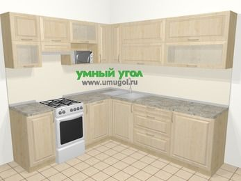 Угловая кухня из массива дерева в классическом стиле 6,9 м², 210 на 240 см, Светло-коричневые оттенки, верхние модули 72 см, посудомоечная машина, верхний модуль под свч, отдельно стоящая плита
