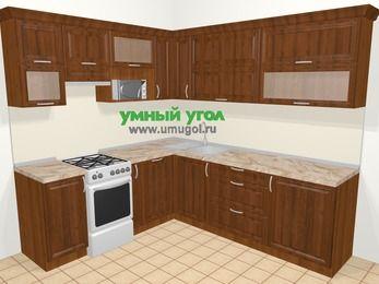 Угловая кухня из массива дерева в классическом стиле 6,9 м², 210 на 240 см, Темно-коричневые оттенки, верхние модули 72 см, посудомоечная машина, верхний модуль под свч, отдельно стоящая плита