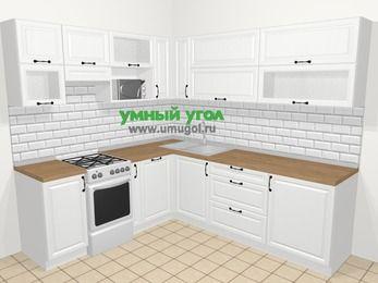Угловая кухня из массива дерева в скандинавском стиле 6,9 м², 210 на 240 см, Белые оттенки, верхние модули 72 см, посудомоечная машина, верхний модуль под свч, отдельно стоящая плита