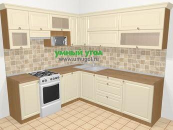 Угловая кухня из массива дерева в стиле кантри 6,9 м², 210 на 240 см, Бежевые оттенки, верхние модули 72 см, посудомоечная машина, верхний модуль под свч, отдельно стоящая плита