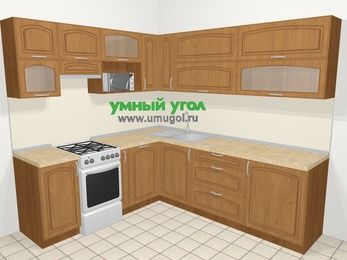 Угловая кухня МДФ патина в классическом стиле 6,9 м², 210 на 240 см, Ольха, верхние модули 72 см, посудомоечная машина, верхний модуль под свч, отдельно стоящая плита