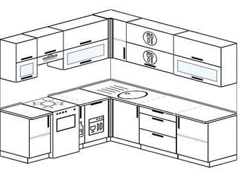 Угловая кухня 6,9 м² (2,1✕2,4 м), верхние модули 72 см, посудомоечная машина, отдельно стоящая плита