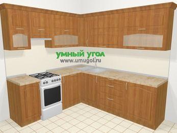 Угловая кухня МДФ матовый в классическом стиле 6,9 м², 210 на 240 см, Вишня, верхние модули 72 см, посудомоечная машина, отдельно стоящая плита