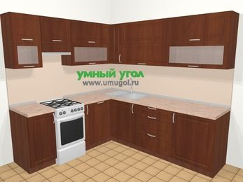 Угловая кухня МДФ матовый в классическом стиле 6,9 м², 210 на 240 см, Вишня темная, верхние модули 72 см, посудомоечная машина, отдельно стоящая плита
