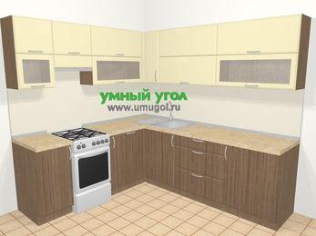 Угловая кухня МДФ матовый в современном стиле 6,9 м², 210 на 240 см, Ваниль / Лиственница бронзовая, верхние модули 72 см, посудомоечная машина, отдельно стоящая плита