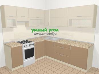 Угловая кухня МДФ матовый в современном стиле 6,9 м², 210 на 240 см, Керамик / Кофе, верхние модули 72 см, посудомоечная машина, отдельно стоящая плита