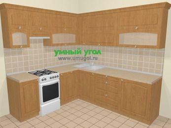 Угловая кухня МДФ матовый в стиле кантри 6,9 м², 210 на 240 см, Ольха, верхние модули 72 см, посудомоечная машина, отдельно стоящая плита
