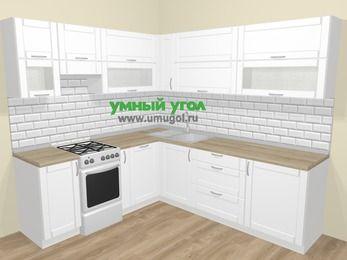 Угловая кухня МДФ матовый  в скандинавском стиле 6,9 м², 210 на 240 см, Белый, верхние модули 72 см, посудомоечная машина, отдельно стоящая плита