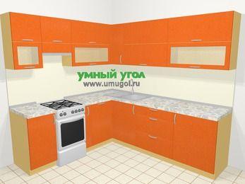 Угловая кухня МДФ металлик в современном стиле 6,9 м², 210 на 240 см, Оранжевый металлик, верхние модули 72 см, посудомоечная машина, отдельно стоящая плита