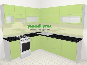 Угловая кухня МДФ металлик в современном стиле 6,9 м², 210 на 240 см, Салатовый металлик, верхние модули 72 см, посудомоечная машина, отдельно стоящая плита