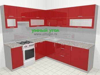 Угловая кухня МДФ глянец в современном стиле 6,9 м², 210 на 240 см, Красный, верхние модули 72 см, посудомоечная машина, отдельно стоящая плита